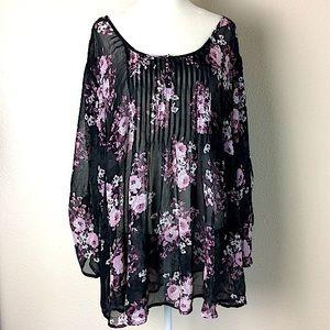 Torrid Sheer Floral Blouse Black Size 3X